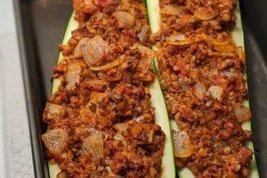 Easy Vegan Lentil Bolognese Stuffed Zucchini Boats